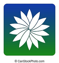 Flower sign. Vector. White icon at green-blue gradient square with rounded corners on white background. Isolated.