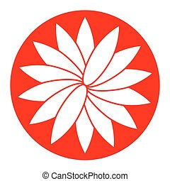 Flower sign. Vector. White icon in red circle on white background. Isolated.