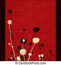 Flower silhouette on red with border - Flower silhouette on...