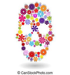 Flower skull in colors over white