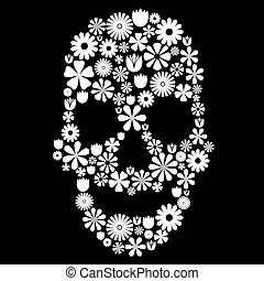 Skull shape made of many white flowers on black, contrast concept