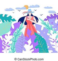 flower., sonne, blätter, tropische , besitz, m�dchen