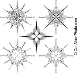 Set of a five geometric shape spirals