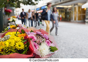Flower stand in the center of Prague
