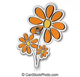 flower sticker fixed over a white background with a pushpin, flower is yellow orange