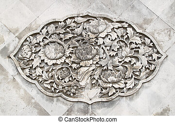 flower stone with wall paper or background