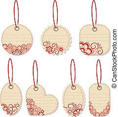 Flower tags. Vector illustration.