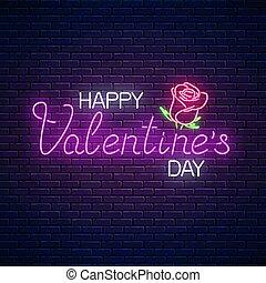 flower., tekst, valentines, neon, groet, illustratie, valentijn, gloeiend, vector, roos, dag, kaart, vrolijke