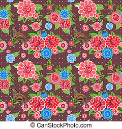 Flower texture with birds seamless