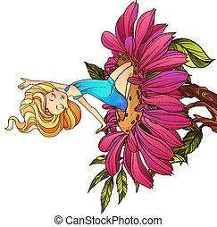 flower., thumbelina, séance, caractère, conte, vecteur, fée, illustration.
