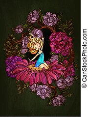 flower., thumbelina, sentado, carácter, cuento, vector, hada, illustration.