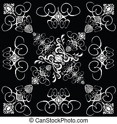 flower tile gothic 4 - A gothic repeat design in black and...