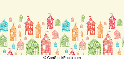 Flower town houses horizontal seamless pattern background -...