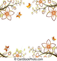 Flower tree frame - flower background with butterfly...