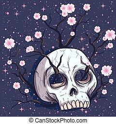 Flower tree growing out of a human skull. Pink cherry blossoms under the night starry sky.