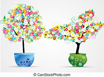 flower trees in pot vector illustra