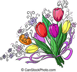 Flower, tulips, bouquet - Flowers tulips, holiday bouquet on...