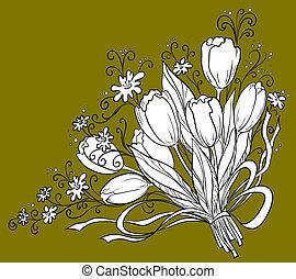 Flowers tulips, holiday bouquet, vector, monochrome contour