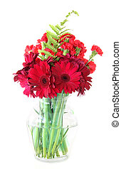 Flower vase - Beautiful red colored flowers in a glass vase
