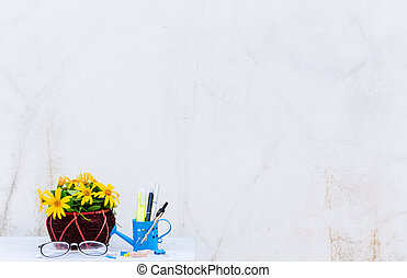flower vase on table old wall background