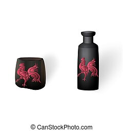 Flower vases, ikebana. With a picture of the cock. Isolated on white background with shadow. illustration