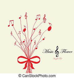 flower., vecteur, musical, illustration