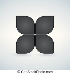 Flower vector icon or logo isolated on white.