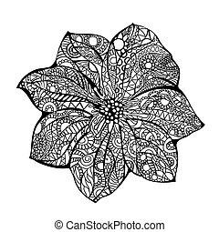 Flower vector illustration Black white hand drawn doodle....