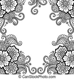 Flower vector ornament frame