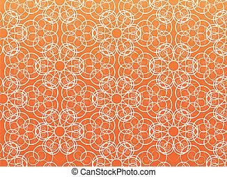 Flower vector pattern on orange background.