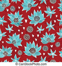 Flower vector seamless pattern with flowers and hearts