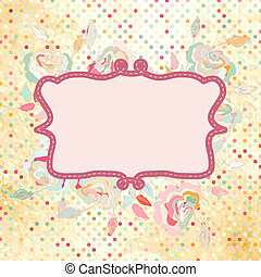 flower., vendange, cadre, polka, eps, rose, 8, point