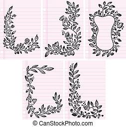 Sketch Flower Vines Frame and Boarder Vector Set