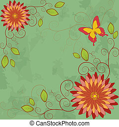 Flower vintage background. - Green floral background with...