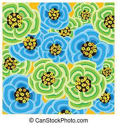Flower Wallpaper - Burst of blue and green spring flowers.