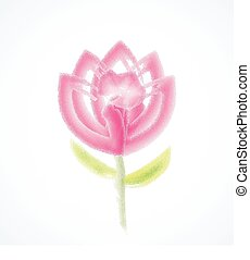 Flower watercolor vector logo