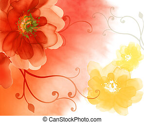 watercolour painting of red and yellow flower in an orange background