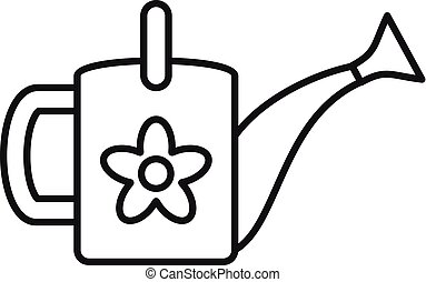 Flower watering can icon, outline style