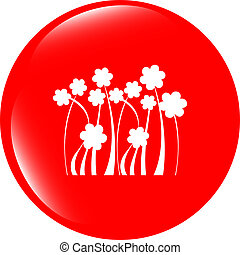 Flower web icon button isolated on white