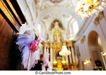 flower wedding decoration in a church