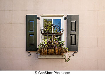 Flower window box in historic downtown Charleston, South Carolina