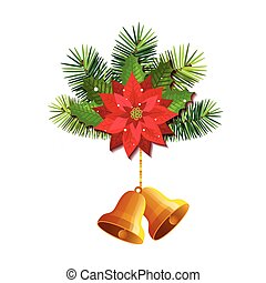 flower with bells christmas hanging isolated icon