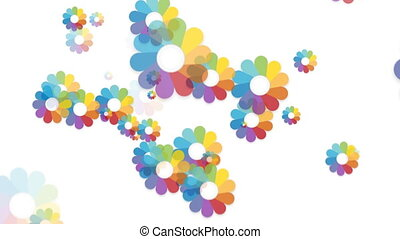 Flower with colorful petals. Seamless. White background with falling flowers
