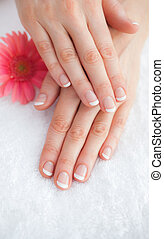 Flower with french manicured fingers at spa center -...