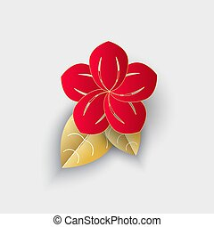 Flower with Leaf Origami Chinese New Year Decor