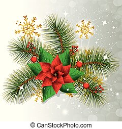 flower with leafs of christmas and snowflakes