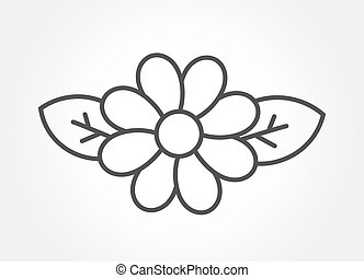 Flower with leaves line icon.