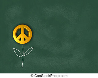 flower with peace symbol on chalkboard - 3d rendering