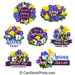 Flower with ribbon icon for greeting card design