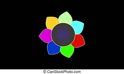 Flower with seven multi-colored petals and a changing core rotates in precession on a black background, 4k footage, loop
